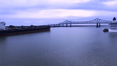 4k Freight Ship, bridge on Mississippi River in New Orleans Stock Footage