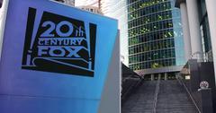 Street signage board with Twentieth Century Fox Film Corporation logo Stock Illustration