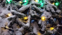 Christmas tree decorated with garlands. Stock Footage