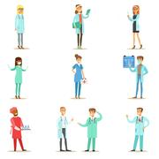 Doctors With Different Specializations Wearing Medical Scrubs Uniform Working In Stock Illustration