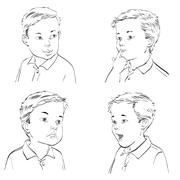 Set boy emotions Stock Illustration