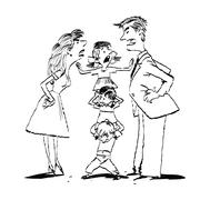Quarrel in the family, mom and dad fighting, kids calm Stock Illustration