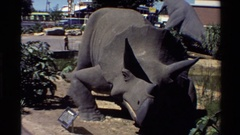 1980: a plaque describing a statue of a triceratops WESTERN USA Stock Footage