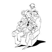 Large family, dad in a chair with children Stock Illustration