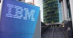 Street signage board with IBM logo. Modern office center skyscraper and stairs Stock Illustration