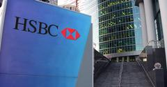 Street signage board with HSBC logo. Modern office center skyscraper and stairs Stock Illustration