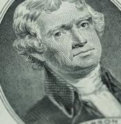 President Thomas Jefferson face on us two dollar bill closeup macro Stock Photos