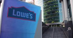 Street signage board with Lowe's logo. Modern office center skyscraper and Stock Illustration