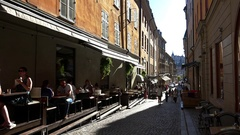 A cozy cafe in the heart of Stockholm. Sweden.  4K. Stock Footage
