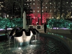 Temple Square fountain Christmas lights family night DCI 4K Stock Footage