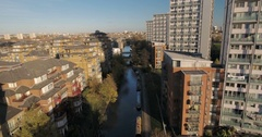 Aerial descending view over the grand union canal in West London Stock Footage