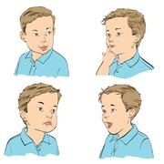 Set boy emotions Stock Illustration