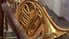 Old vintage unique French horn musical instrument, shallow DOF Stock Footage