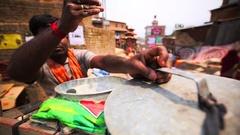 Ice-cream seller at street market in Bhaktapur, Nepal Stock Footage