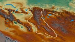 Revolution around Altay mountain range - glowed. Relief map Stock Footage