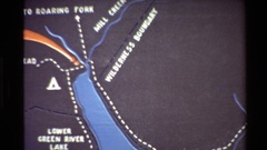 1980: a map showing the directions starting from roaring fork via lower green Stock Footage