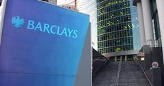 Street signage board with Barclays logo. Modern office center skyscraper and Stock Illustration