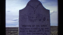 1980: sign: parting of the ways; this marks a fork in the trail. right to Stock Footage