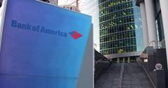 Street signage board with Bank of America logo. Modern office center skyscraper Stock Illustration