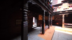 Interior of the typical nepalese house patio. Bhaktapur, Nepal Stock Footage