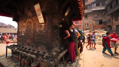 People whatch how chickens are killed as the sacrificial victims in Nepal temple Stock Footage