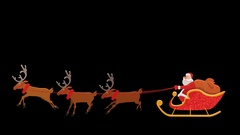 Santa Riding On Sleigh with Alpha Transparency Stock Footage
