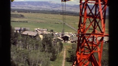 1980: climbing to the top of a hill through the ropeway towers. WESTERN USA Stock Footage