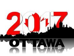 Ottawa skyline 2017 flag text illustration Piirros