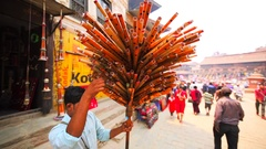 Flutes seller at street with many flutes and pipes. Bhaktapur, Nepal Stock Footage