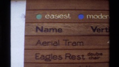 1980: sign with ski lift directory spelling out lift name, elevation and Stock Footage