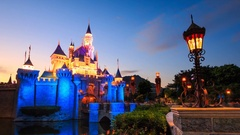 HongKong Disneyland Castle 4K Time Lapse Day to Night (3 Shots) Stock Footage