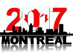 Montreal skyline 2017 flag text illustration Stock Illustration