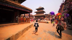 Durbar square, view of the Nyatapola and Bhairavnath temples. Bhaktapur, Nepal Stock Footage