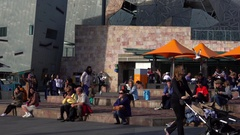Melbourne, Federation Square, Tourists Stock Footage
