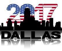Dallas skyline 2017 flag text illustration Piirros