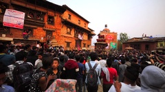 View of the deity waggon and a big crowd. Nepalese New Year. Bhaktapur, Nepal Stock Footage
