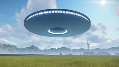 3d UFO over industrial zone Stock Footage