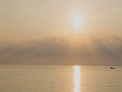 Sunset on the beach on Pacific ocean. Sunset time timelapse. Stock Footage