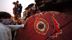 Deity waggon. It will be pushed and pulled soon. Nepalese New Year. Bhaktapur Stock Footage