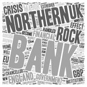 Bank Of England Shipwrecked On Northern Rock text background wordcloud concept Stock Illustration