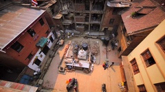 View of damaged buildings from the roof after earthquake. Bhaktapur, Nepal Stock Footage