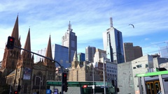 Melbourne, st Paul Cathedral, Southbank Skyline Stock Footage