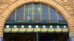Melbourne, Flinders Station, Front, World Clock Stock Footage