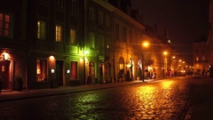 WARSAW, POLAND - NOVEMBER, 28, 2016. Old town street at night. European city 4K Stock Footage