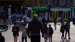 Melbourne, Federation Square, People on the Street Stock Footage