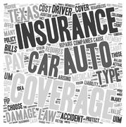 Auto Insurance Texas text background wordcloud concept Stock Illustration