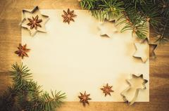 Empty paper for recipe of Christmas baking. Culinary background. Stock Photos