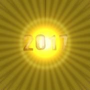 New Year numbers 2017 with yellow shiny background Stock Illustration