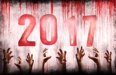 New Year numbers 2017 with bloody wall and hands Stock Illustration