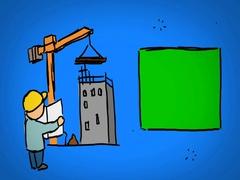 Construction  - Hand Drawn - Caucasian Hand - green screen - blue - SD Stock Footage